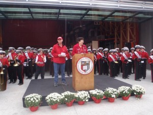 The Fischells speaking at the Dedication Ceremony of the Fischell Band Center, Fall 2013.